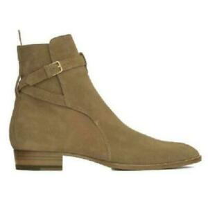 Men Genuine Leather Suede Chelsea Boots Shoes Ankle Boots Slip On buckle New