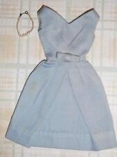 Vintage Barbie 1962 HTF Polished Cotton Blue Belle Dress w/ Graduated Necklace