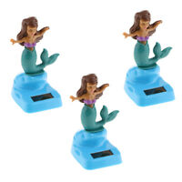 3Pcs Solar Powered Car Dashboard Figure Dancing Toy Mermaid