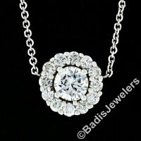 New 14K Gold 0.91ctw Round Brilliant Diamond Solitaire & Halo Pendant Necklace