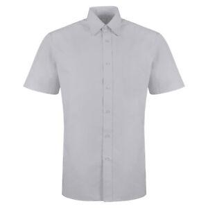 New Mens Short Sleeve Shirt Button Up Plain Business Work Smart Formal Dress Top