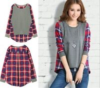 Womens Long Sleeve Plaid Checked Loose T-shirt Blouse Tops Pluse Size UK 4-22
