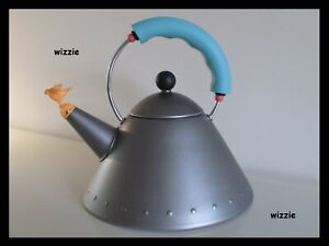 ALESSI : Anthracite Whistling Tea Kettle with orange bird / Michael Graves RARE