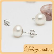 Brand New Silver White Freshwater Pearl Earring Stud 8.5-9mm Gift Souvenir Delny