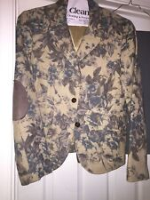 Women's Sz 10 Karen Kane Beige Blue Brown Flower w/brown suede patches on arm