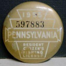1955 Pennsylvania Resident Citizens Fishing License Pinback Button