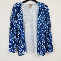 Chico's open front blue geometric  print knit cardigan sweater women's size 3/XL