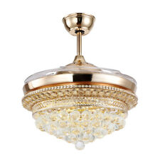Invisible Ceiling Fan Light LED Chandeliers Remote Control Retractable Blade Fan