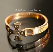 ORTHODOX RUSSIAN RING w/St.GEORGE CROSS, CHRISTIAN , SOLID GOLD 14K. 585 PROBE