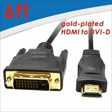 6Ft Gold Plated HDMI Male To DVI-D Male Cable 24+1 For HDTV Xbox 360 Blu-Ray DVD