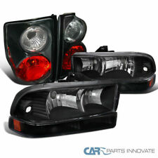 Chevy 98-04 S10 Pickup Black Headlights+Front Bumper Lamps+Tail Brake Lights