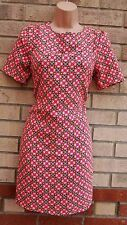 PRIMARK NEON PINK YELLOW BLACK SPOTTY BAROQUE TUBE SHIFT SMOCK TEA DRESS 8 S