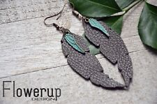 Lightweight handmade green real leather turquoise feather statement earrings