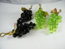 """(4) Plastic Faceted Grape Clusters 8"""" Long Green / Black Color"""