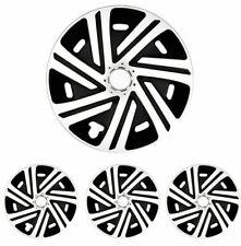 """Hubcaps Classic Universal For 15"""" Inch Black White 4 Piece"""