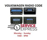 VW Volkswagen Radio Code Unlock Decode Service RCD510 RCD310 RNS315 All Models