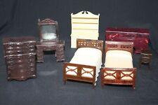 Vtg Renwal Dollhouse Furniture Lot 2 Beds Dresser Table Vanity Hutch Buffet