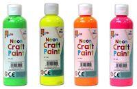 4x 200ml Finger Paint - Neon Colours Children Arts Craft Non Toxic Kids Paint