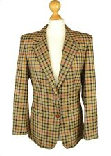 DAKS Signature UK 10 FR 38 Camel House Check 100% Pure Wool Tweed Blazer Jacket