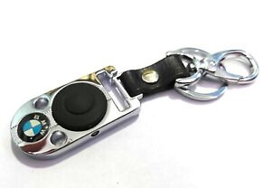 BMW Logo Metal Leather Car Key Chain Small Torch Inbuilt Keyring Keychain Holder