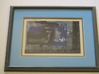 VINTAGE 1970'S SHIMA WOODBLOCK WOODCUT PRINT SIGNED LIMITED ABSTRACT MOD BIRD