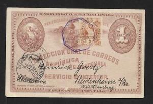 GUATEMALA TRAIN CARD to GERMANY 1895