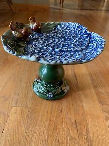 Vintage Short Pedestal Ceramic Bird Bath/Feeder