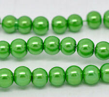"6mm LIME GREEN Round Glass Pearls long 32"" strand about 145 beads bgl0003"