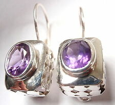 Faceted Oval Amethyst Wire Back Earrings 925 Sterling Silver Rectangle 8 Grams