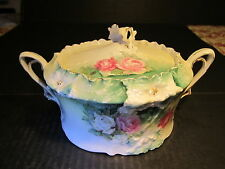 Old RS Prussia 2 Handle Flower Finial Lid Floral Decorated Cracker / Biscuit Jar