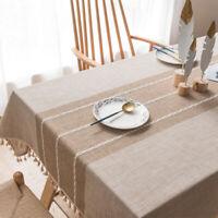 Cotton Linen Tablecloth Tassels Minimalist Pattern for Kitchen Dinning Decor
