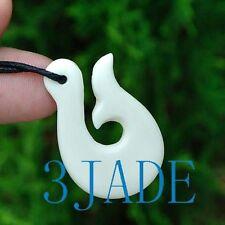 Hand Carved Bone Fish Hook Pendant New Zealand Maori Style Carving