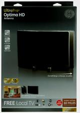 GE 34137 ULTRAPRO OPTIMA HDTV ANTENNA 60 mi. Range 1080p UHF VHF HD Sleek Black
