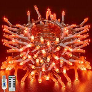 Ollny Halloween Lights, 33ft 100 LED Halloween Orange String Fairy Light USB Ope