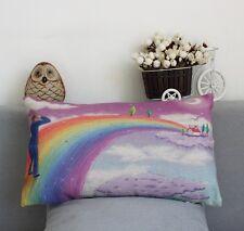 Rainbow Bridge Linen Printing Rectangle Pillow Cushion Cover 50cm*30cm