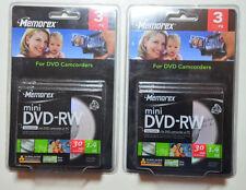 MEMOREX DVD-RW 1.4GB 30min Rewritable Mini 8cm DVD Disc Disk Jewel Case 6 PACK