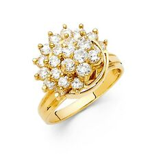 Flower Motion Cluster Ring Solid 14k Yellow Gold Band Moveable Style Cz Fashion