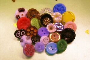 A lot of 25 vintage (unused) glass flower buttons for crafting / jewellery etc