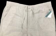 Men's CUBAVERA Beige Khaki LINEN + Drawstring Pants 1XB x 32 1XB/32 NEW NWT
