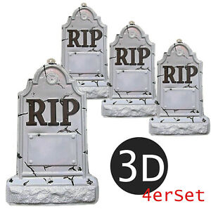 4x Grabstein 3D Kunststoff Halloween Deko 54 cm hoch Deko Gruseldeko RIP Set