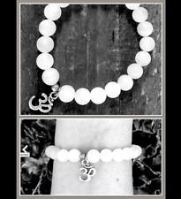 Om Aum Ohm Vibrational White Azeztulite Silver Bead Stretch Sauralite Bracelet