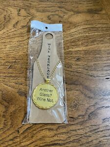 Gold Tone Wine Bottle Necklace Embellishment - Another Glass? Wine Not