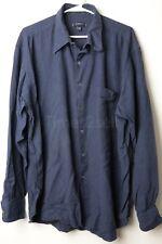 Burberry London Men's Dress Shirt Navy Blue Made in USA Size XL