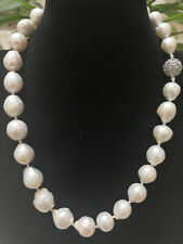 "11-13mm Natural White South Sea Baroque Pearl Necklace 18"" AAA"