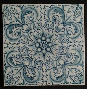 Arts & Crafts Blue & white Tile. Craven Dunnill, C1900.