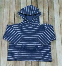 Mini Boden Terrycloth Hooded Sweatshirt Swim Cover Boys 3-4 Years Blue Stripe