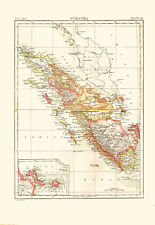 1896 Color Map of SUMATRA - Inset Map of BANKA STRAIT