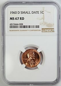 1960-D NGC MS 67 RD United States / American Lincoln Wheat Cent - Small Date