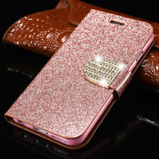 Luxury PU Leather Magnetic Flip Stand Bling Wallet Cover Case For Huawei Phones