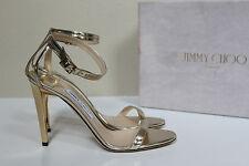 sz 10 / 40 Jimmy Choo Daisy Gold Mirror Leather Ankle Sandal Peep Toe Shoes